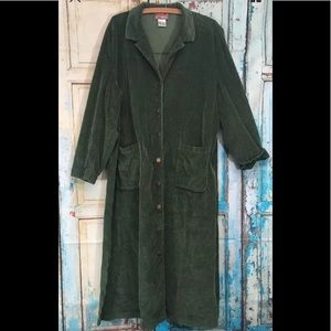 "April Cornell Green Corduroy Midi Dress Sz L 48"""